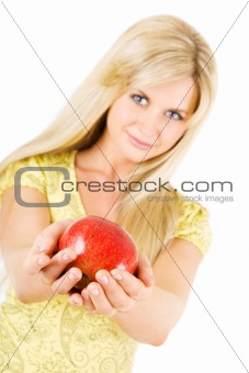 Beauty with red apple- focus on the apple