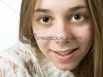 Beauty young girl teenager face portrait.