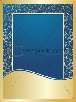blue and golden floral wallpaper