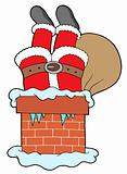 Santa Clauses legs with chimney
