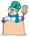 Snowman with sign and broom