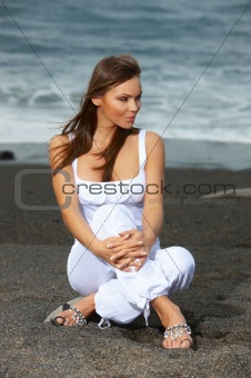 Woman on the Black Beach