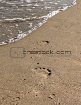 Footprints on a sand