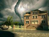 tornado over the house