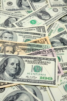 Close up of US dollar bills