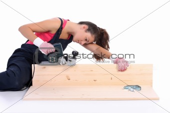 woman carpenter at work