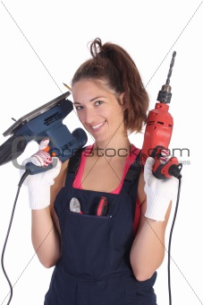 Beauty woman with auger and sander