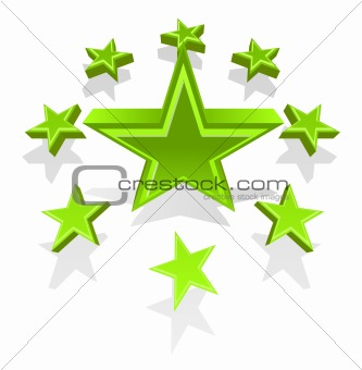 Vector illustration of green stars