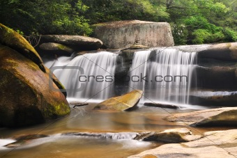 Nature Landscape Mountain Stream Waterfalls w/ Gold Green Colors
