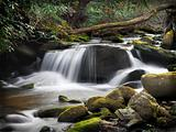 Blue Ridge Forest Stream Waterfall With Milky Effect
