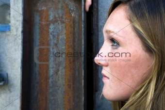 Close up on a Girl with Grunge Background