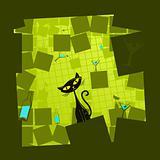 Vector illustration of a green cartoon cat