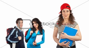 Three students with books and