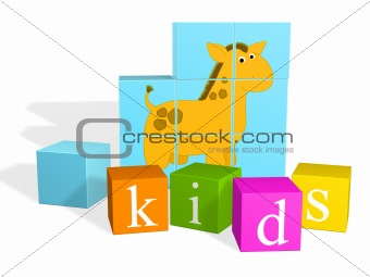 Bright multi - coloured children's cubes