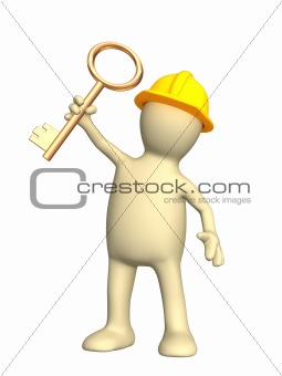 3d builder, holding in hand a gold key