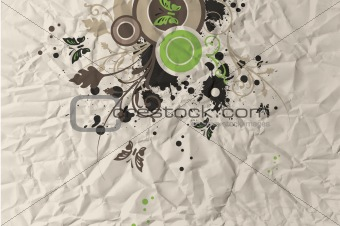 Crumpled Paper with swirly flower design