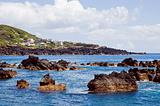 Shallow coastline of  Pico island, Azores
