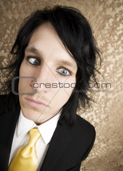 Rock and Roll Businessman with Crossed Eyes