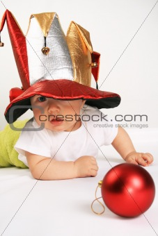 Small boy in the hat of jester
