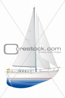 sailing yacht illustration
