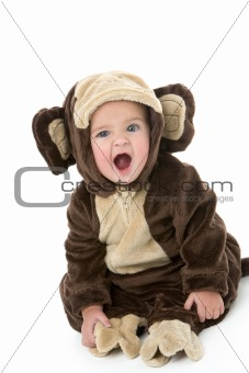 Baby in monkey costume