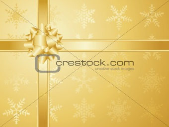 Gold christmas bow and ribbons