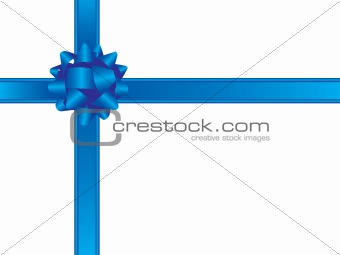 Blue christmas bow and ribbons