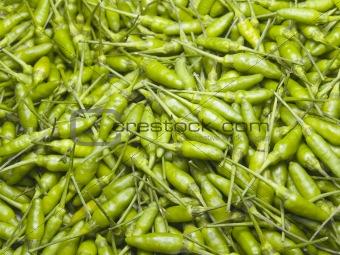 A Pile of Green Prik ki nu Chilies