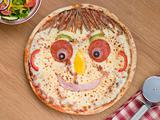 Smiley Faced Pizza with a Side Salad
