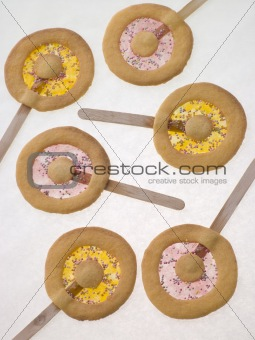 Candy and Shortbread Biscuit Lollipops