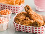 Southern Fried Chicken Coleslaw Baked Beans Fries and Strawberry