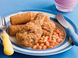 Southern Fried Chicken with Croquette Potatoes and Baked Beans