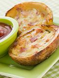 Ham and Cheddar Cheese Stuffed Potato Skins