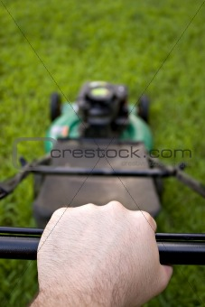Pushing the Lawn Mower