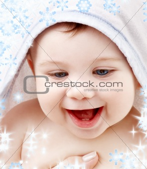 baby with terry hoodie robe on head