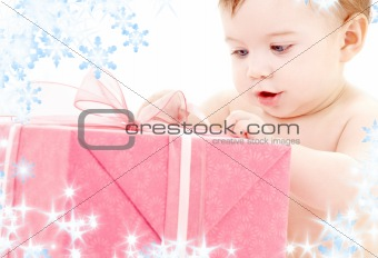 baby boy with gift box