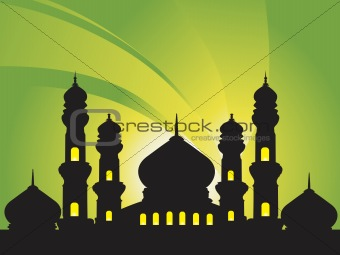 abstract background with silhouette of mosques, illustration