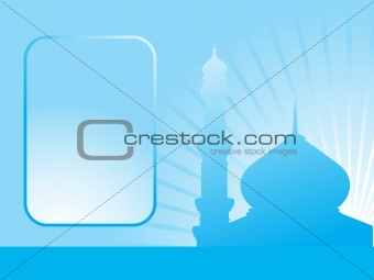 abstract blue background with mosque and place for text