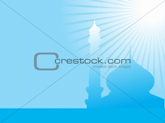 abstract blue background with mosques