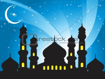 illustration, silhouette of mosques in the moon night