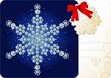 Diamond snowflake / Christmas background with tag and copy space