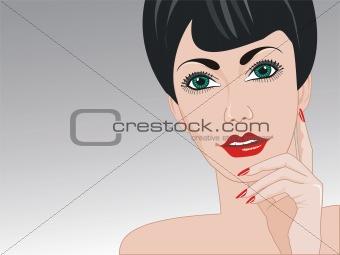 Portrait of woman beautiful facial complexion.