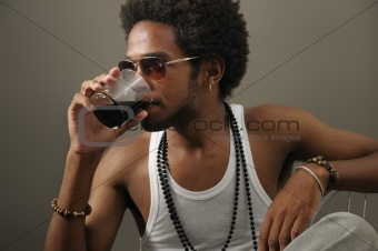 African man drinking
