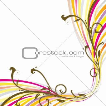 Floral wave background, vector