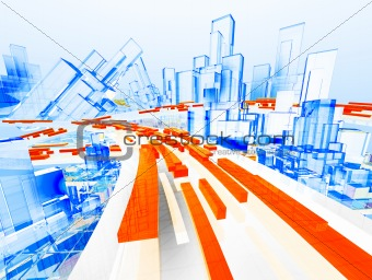 3d cityscape and highway with wireframe