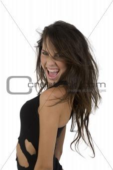 posing glamorous woman