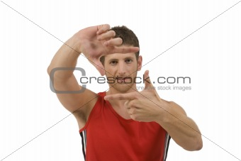 adult man showing framing gesture
