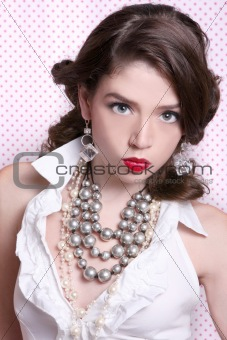 Beautiful Woman Dressed in Retro Vintage Style