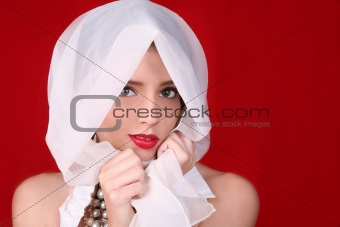 High Fashion Model on Red Background