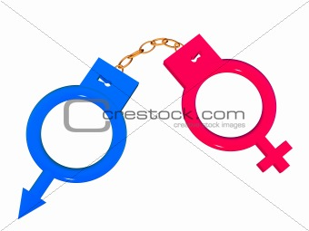 Symbols in the form of handcuffs.